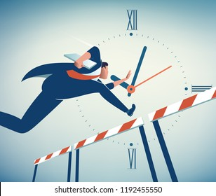Competing Against Time. Businessman jumps over obstacle. Business vector illustration