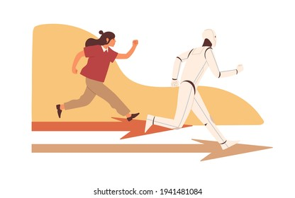 Competition between robot and human. Person vs AI concept. Technologies competing with people. Confrontation with artificial intelligence. Colored flat vector illustration isolated on white background