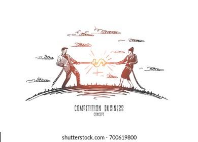 Competition business concept. Hand drawn two persons man and woman playing tug of war. Competition between two businessmen isolated vector illustration.