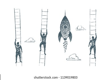 Competition - business concept sketch, Men climb the stairs upward, the rocket ahead of them. Vector hand drawn illustration.