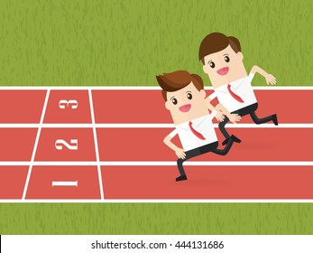competition of business people running on red running track