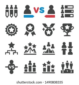 competition and challenge icon set,vector and illustration