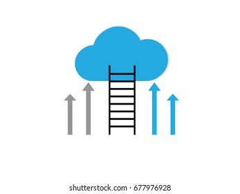 a competition concept, cloud with ladders on white