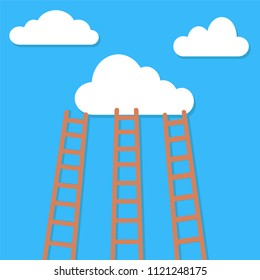 competition concept, clouds with ladders, stock vector illustration
