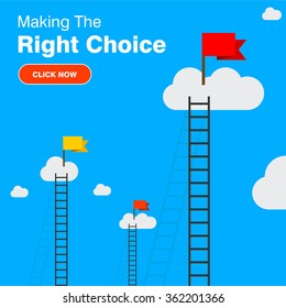 a competition concept with clouds. Red flag in clouds. Click here to Keep Moving Forward