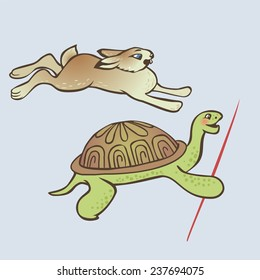 Competition. Crafty and smart slow turtle is winner. Honest and fast hare is loser.