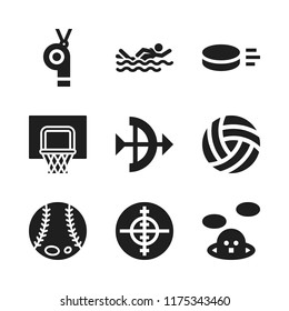 competition icon. 9 competition vector icons set. whistle, aim and basketball icons for web and design about competition theme