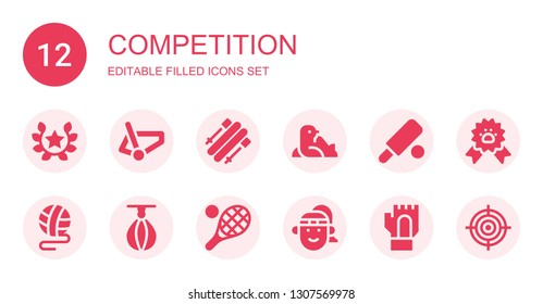 competition icon set. Collection of 12 filled competition icons included Laurel, Bicycle, Skii, Seal, Cricket, Ball, Punching ball, Tennis, Athlete, Gloves, Paw ribbon, Goal