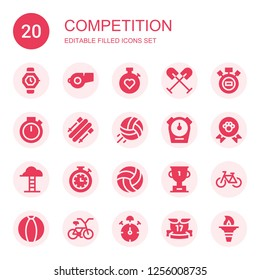 competition icon set. Collection of 20 filled competition icons included Watch, Whistle, Stopwatch, Oar, Chronometer, Skii, Volleyball, Winner, Goals, Trophy, Bicycle, Ball, Stop watch