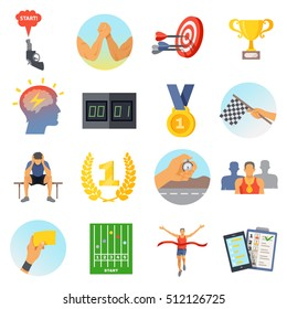 Competition icons set of sports rewards prizes athletes and accessories in flat style isolated vector illustration
