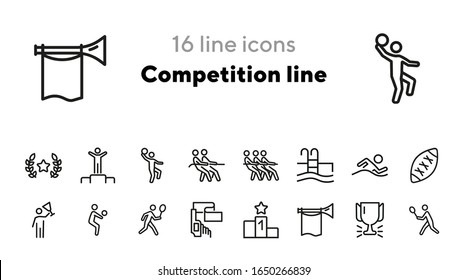 Competition line icons. Set of line icons. Award, badminton player, cup. Sport concept. Vector illustration can be used for topics like sport, competition