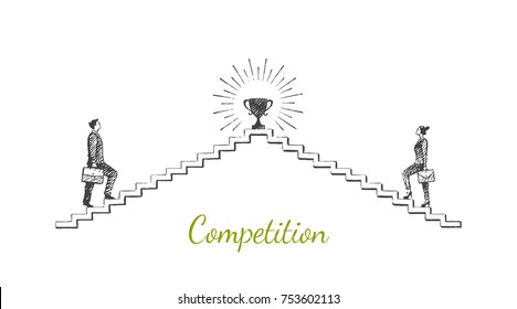 Competition. A man and a woman are walking up the stairs to the cup. Vector business concept hand drawn sketch.