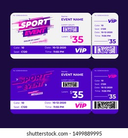 competition sport event ticket, when the session is being held, on the sports field, for spectators who buy tickets, with color purple pink and white