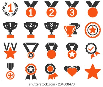 Competition & Success Bicolor Icons. This icon set uses orange and gray colors, rounded angles, white background.