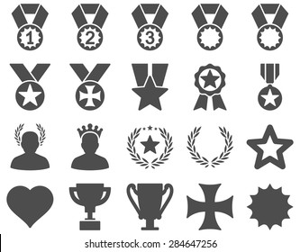 Competition & Success Bicolor Icons. This icon set uses gray color, rounded angles, white background.