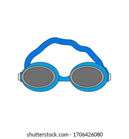 competition swimming goggles, vector icon