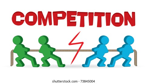 Competition - tug of war - business people pulling rope - vector illustration