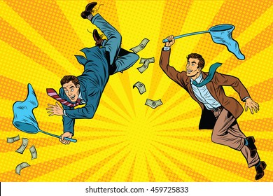 Competition, two businessmen catching money with a butterfly net, pop art retro comic book vector illustration