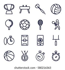 competition vector icons. Set of 16 competition outline icons such as stopwatch, tennis playing, trophy, medal, football pitch, football on phone, goal post, tennis rocket