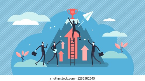 Competition vector illustration. Flat tiny business persons goals concept. Success symbol for professional leader direct achievement award. Cooperation and teamwork strategy effort accomplishment.