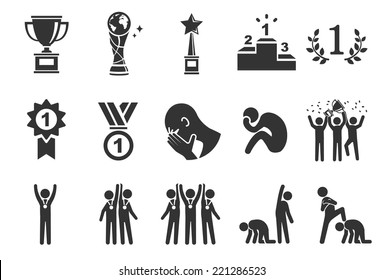 Competition vector illustration icon set. Included the icons as win, lost, award, success, teamwork, sport and more.