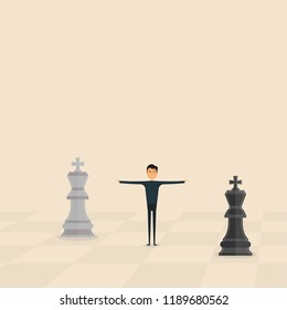 Competition,Mediation or Referee concept.Business marketing strategy.Businessman & Chess king pieces.Mediator assists disputing parties.Resolving conflict or dispute resolution.Referee & Mediation