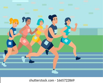 Competitions in running. Athletics. In minimalist style. Cartoon flat vector illustration