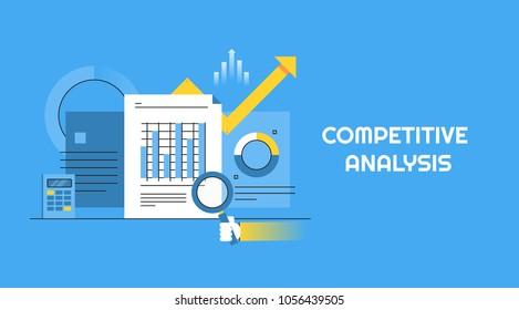 Competitive analysis - Data analysis - Market competition - Business strategy analysis flat vector banner isolated on blue background