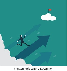 Competitive businessman highly effective finds Path to the goal.Business concept vector illustration
