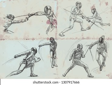 Competitive FENCING. Vector collection, pack. Two sportmen, athletes in a match. An hand drawn illustration. Freehand sketching, drawing of an sporting event.