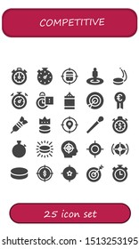 competitive icon set. 25 filled competitive icons.  Collection Of - Stopclock, Stopwatch, Target, Puck, Punching ball, Prize, Dart, Stick icons