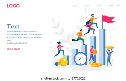 Competitive Process in Business, business man and woman  run to their goal, move up the motivation, the way to achieve the goal, businessman in hurry in each step vector illustration for web, print