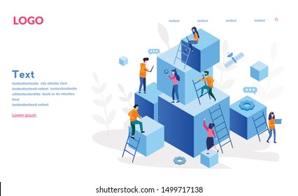 Competitive Process in Business, business man and woman  go run to their goal, move up the motivation, the way to achieve the goal, businessman in hurry in each step vector illustration for web, print