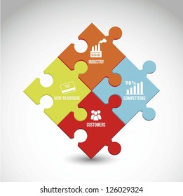 competitor analysis illustration with puzzles. vector background