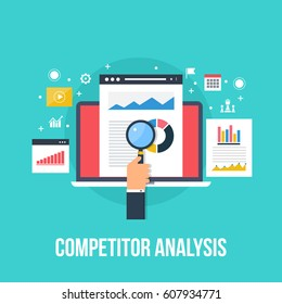 Competitor data analysis, market research, and strategy development flat vector concept with icons