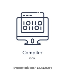 compiler icon from programming outline collection. Thin line compiler icon isolated on white background.