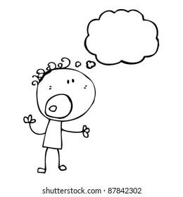 complaining doodle cartoon boy