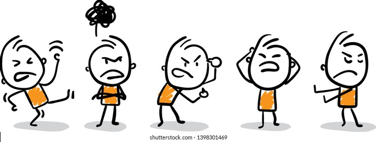 Complaining people. Doodle style vector illustration object isolated. Hand draw line art cartoon design character.