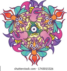 Complaining purple bats, three-eyed yellow mosquitoes and weird green fishes rotating while performing in a pattern design. They form a colorful doodle art motif, a hexagon, full of color and fun