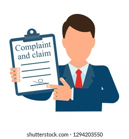 Complaint and claim. Vector image isolated on white background.
