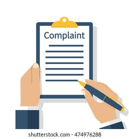 Complaint concept. Man holding clipboard in hand wrote a complaint. Vector illustration flat design. Measures to solve problems. Claim petition.