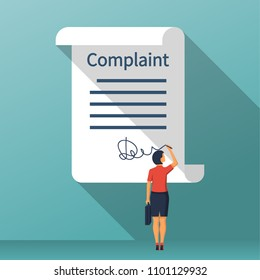 Complaint concept. Woman wrote a complaint. Vector illustration flat design. Measures to solve problems. Claim petition. Sign the document on the application.