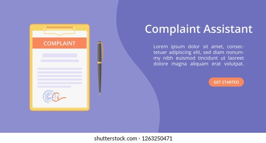 Complaint form assistant on clipboard web template concept Online customer complaint service landing concept with clipboard, signed form and pen on violet background. Vector web illustration template