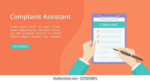 Complaint form on clipboard with hands landing page concept. Online assistant service website page vector concept, check list with complaint survey. Red landing illustration with hand and clipboard