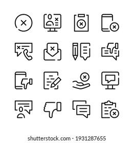 Complaint icons. Vector line icons. Simple outline symbols set