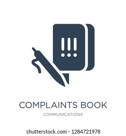complaints book icon vector on white background, complaints book trendy filled icons from Communications collection, complaints book vector illustration