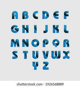 Complete Alphabets with beautiful gradients. Blue and Black, Navy blue alphabets with half white background.