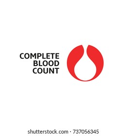 Complete blood count, white blood drop in red round, vector abstract logo.