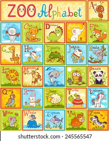 The complete children's english animal alphabet spelt out with different fun cartoon animals. ABC. Zoo alphabet design in a colorful style.