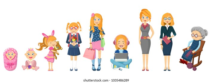 Complete cycle of person's life from childhood to old age. Newborn baby, toddler, school-age girl, hipster student, female businessman, elderly grandmother old woman. Vector illustration